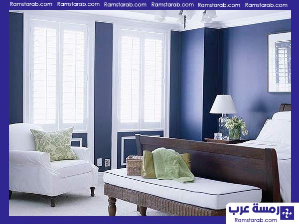 الوان حوائط غرفة نوم زرقاء