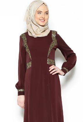 فستان سهره للمحجبات لون بني