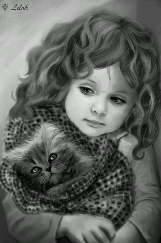 صورة بنت معها قطة